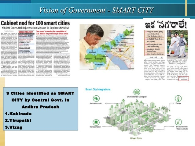 Vision of Government - SMART CITYVision of Government - SMART CITY 3 Cities identified as SMART CITY by Central Govt. in A...