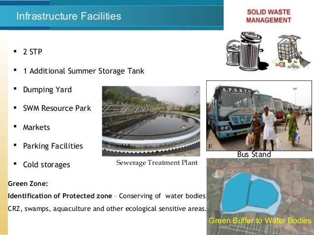 Infrastructure Facilities  2 STP  1 Additional Summer Storage Tank  Dumping Yard  SWM Resource Park  Markets  Parkin...