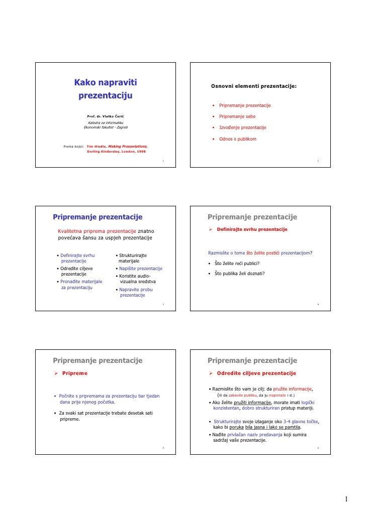 Kako napraviti                                          Osnovni elementi prezentacije:             prezentaciju           ...