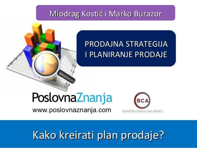 www.poslovnaznanja.com Miodrag Kostić i Marko BurazorMiodrag Kostić i Marko Burazor Kako kreirati plan prodaje?Kako kreira...