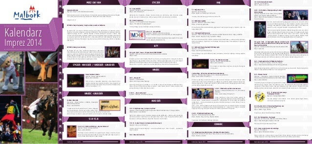 Kalendarz Imprez 2014 STYCZEŃ - KWIECIEŃ / WRZESIEŃ - GRUDZIEŃ MARZEC - GRUDZIEŃ 13.IV-15.IX LUTY MARZEC KWIECIEŃ MAJSTYCZ...
