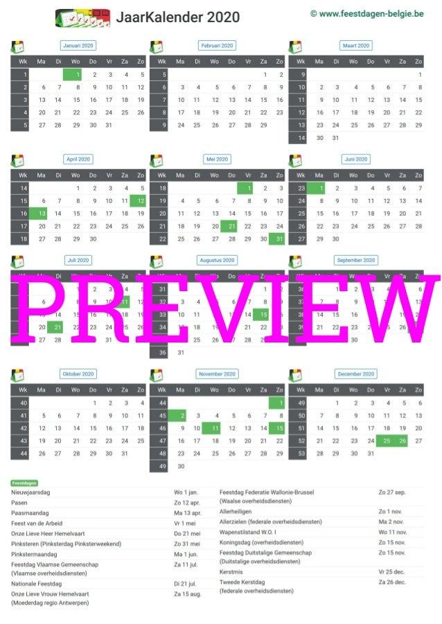 kalender 2020 a4 staand feestdagen belgie preview. Black Bedroom Furniture Sets. Home Design Ideas