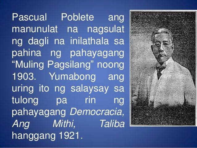 """salaysay na pangkasaysayan Filipino 4 panitikang filipino para sa mataas """"kumintang"""" ng mga tagalog na paaralan  salaysay : mito o mulamat  pangkasaysayan."""