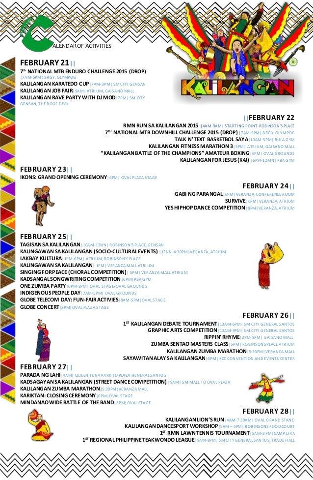 kalilangan festival 2015 schedule of events. Black Bedroom Furniture Sets. Home Design Ideas