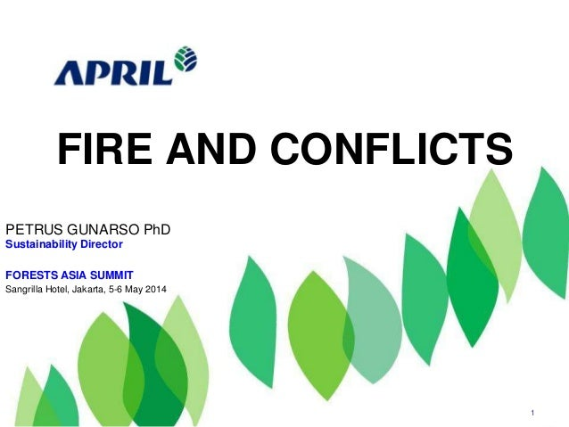 FIRE AND CONFLICTS 1 PETRUS GUNARSO PhD Sustainability Director FORESTS ASIA SUMMIT Sangrilla Hotel, Jakarta, 5-6 May 2014