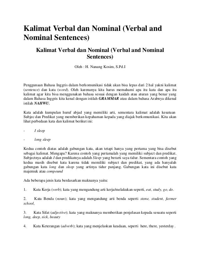 Kalimat Verbal dan Nominal (Verbal andNominal Sentences)       Kalimat Verbal dan Nominal (Verbal and Nominal             ...