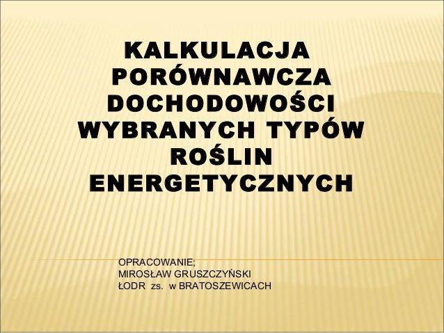 KALKULACJA PORÓWNAWCZA DOCHODOWOŚCI WYBRANYCH TYPÓW ROŚLIN ENERGETYCZNYCH OPRACOWANIE; MIROSŁAW GRUSZCZYŃSKI ŁODR zs. w BR...