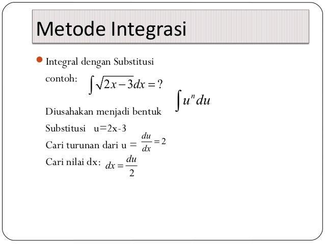 Metode IntegrasiIntegral dengan Substitusicontoh:Diusahakan menjadi bentukSubstitusi u=2x-3Cari turunan dari u =Cari nila...