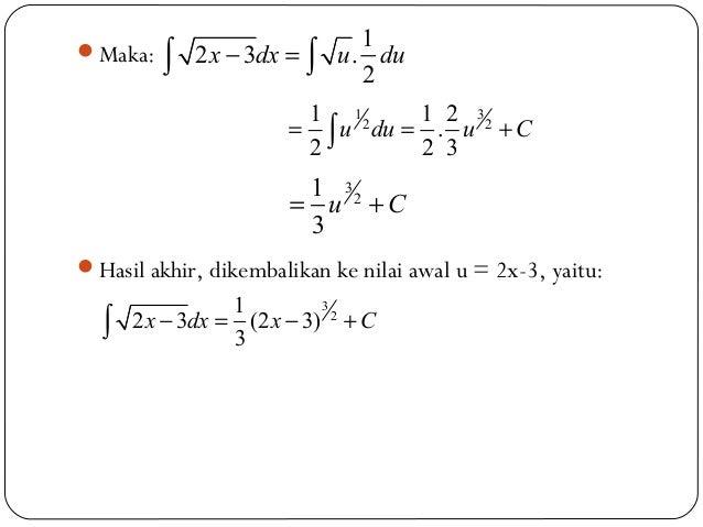 Maka:Hasil akhir, dikembalikan ke nilai awal u = 2x-3, yaitu:12 3 .2x dx u du− =∫ ∫312 21 1 2.2 2 3u du u C= = +∫3212 3 ...