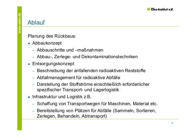 10  www.oeko.de Ablauf  Planung des Rückbaus:  ● Abbaukonzept  ‒ Abbauschritte und –maßnahmen  ‒ Abbau-, Zerlege- und Deko...