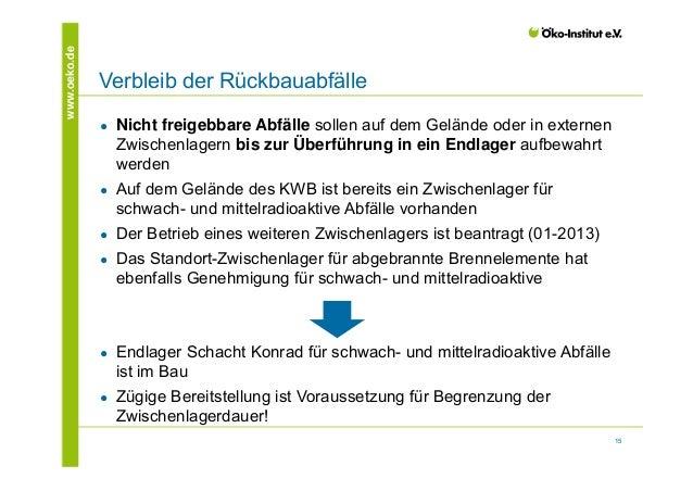 15  www.oeko.de Verbleib der Rückbauabfälle  ● Nicht freigebbare Abfälle sollen auf dem Gelände oder in externen  Zwischen...