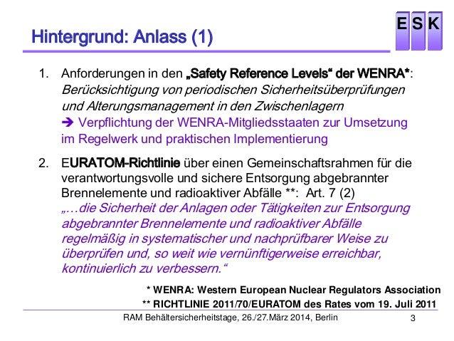 ESK-Leitlinien: Periodische Sicherheitsüberprüfung und technisches Alterungsmanagement für Zwischenlager für bestrahlte Brennelemente und Wärme entwickelnde radioaktive Abfälle Slide 3