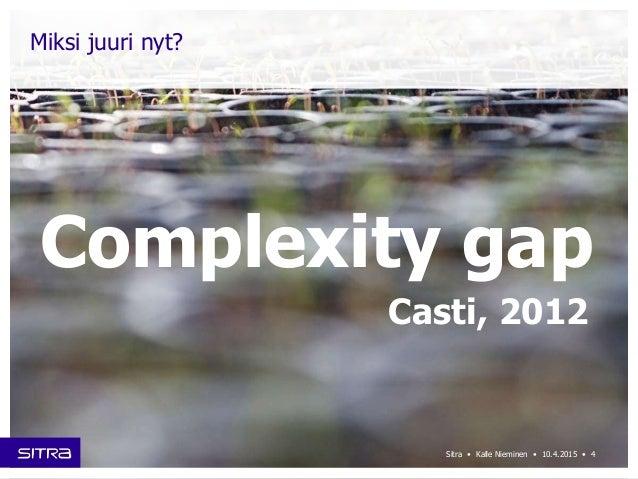 Sitra • Kalle Nieminen • 10.4.2015 • Miksi juuri nyt? Complexity gap Casti, 2012 4