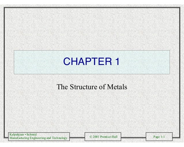 Kalpakjian • Schmid Manufacturing Engineering and Technology © 2001 Prentice-Hall Page 1-1 CHAPTER 1 The Structure of Meta...