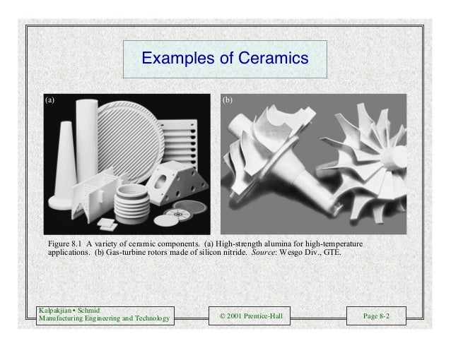 Kalpakjian • Schmid Manufacturing Engineering and Technology © 2001 Prentice-Hall Page 8-2 Examples of Ceramics (a) (b) Fi...