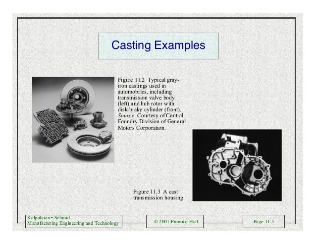 Kalpakjian • Schmid Manufacturing Engineering and Technology © 2001 Prentice-Hall Page 11-5 Casting Examples Figure 11.2 T...