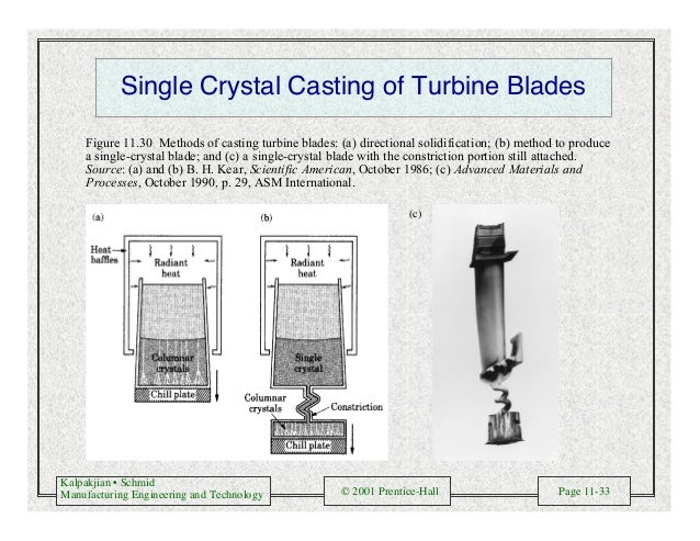 Kalpakjian • Schmid Manufacturing Engineering and Technology © 2001 Prentice-Hall Page 11-33 Single Crystal Casting of Tur...