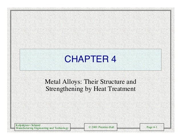 Kalpakjian • Schmid Manufacturing Engineering and Technology © 2001 Prentice-Hall Page 4-1 CHAPTER 4 Metal Alloys: Their S...