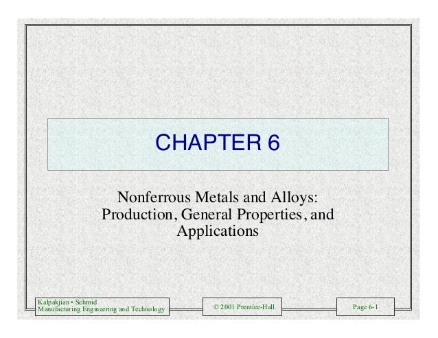 Kalpakjian • Schmid Manufacturing Engineering and Technology © 2001 Prentice-Hall Page 6-1 CHAPTER 6 Nonferrous Metals and...