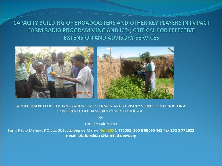 PAPER PRESENTED AT THE INNOVATIONS IN EXTENSION AND ADVISORY SERVICES INTERNATIONAL CONFERENCE IN KENYA ON 17 th   NOVEMBE...
