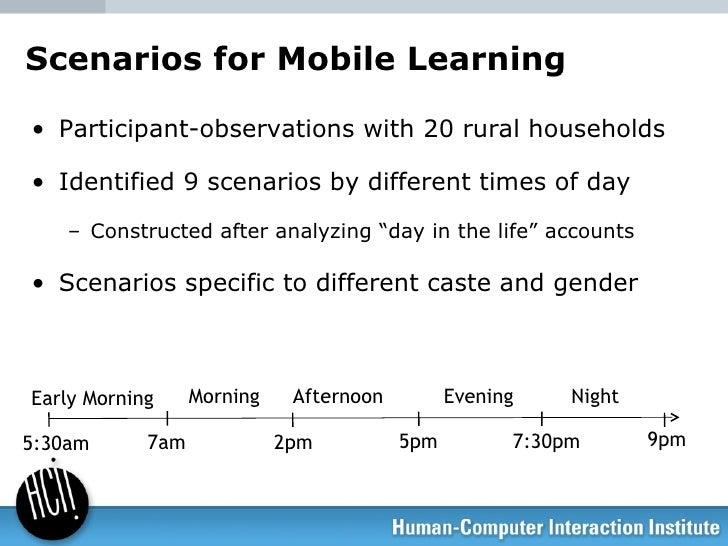 Scenarios for Mobile Learning <ul><li>Participant-observations with 20 rural households </li></ul><ul><li>Identified 9 sce...