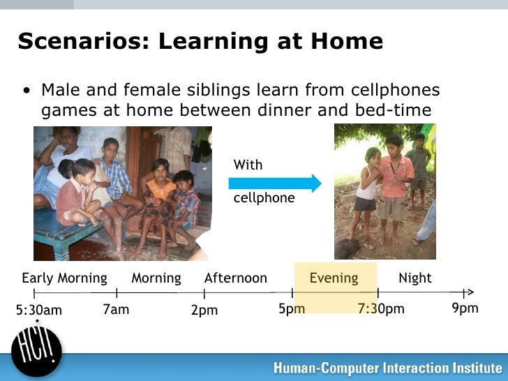 Scenarios: Learning at Home <ul><li>Male and female siblings learn from cellphones games at home between dinner and bed-ti...