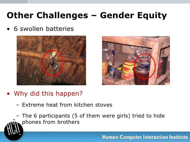 Other Challenges – Gender Equity <ul><li>6 swollen batteries </li></ul><ul><li>Why did this happen? </li></ul><ul><ul><li>...