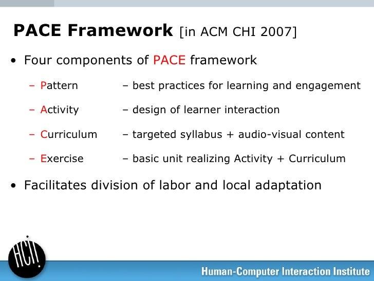 PACE Framework  [in ACM CHI 2007] <ul><li>Four components of  PACE  framework </li></ul><ul><ul><li>P attern  – best pract...