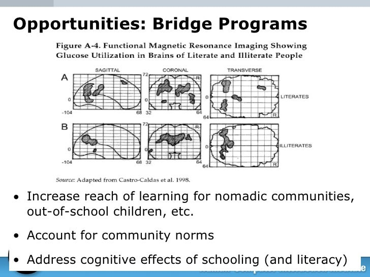 Opportunities: Bridge Programs <ul><li>Increase reach of learning for nomadic communities, out-of-school children, etc. </...