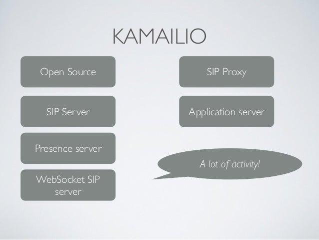 KAMAILIO Open Source SIP Server Presence server SIP Proxy Application server A lot of activity! WebSocket SIP server