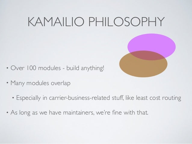 KAMAILIO PHILOSOPHY • Over 100 modules - build anything!  • Many modules overlap  • Especially in carrier-business-relat...