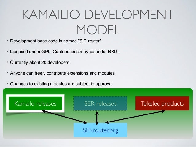 """KAMAILIO DEVELOPMENT MODEL • Development base code is named """"SIP-router""""! ! • Licensed under GPL. Contributions may be und..."""