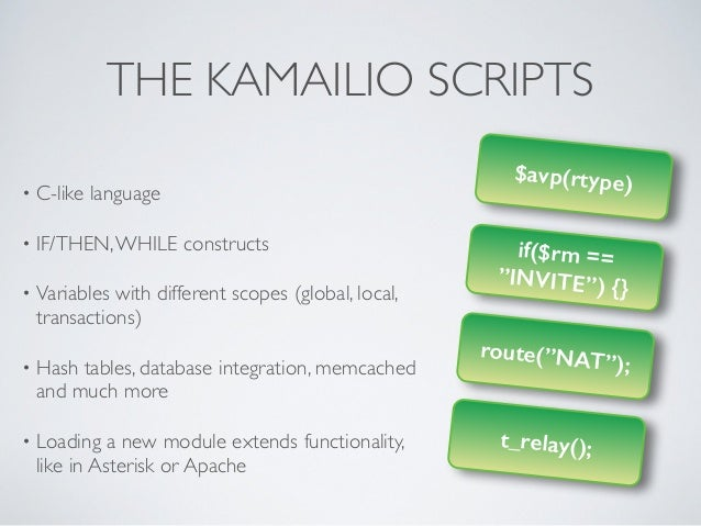 """$avp(rtype) if($rm == """"INVITE"""") {} route(""""NAT""""); t_relay(); THE KAMAILIO SCRIPTS • C-like language  • IF/THEN,WHILE const..."""