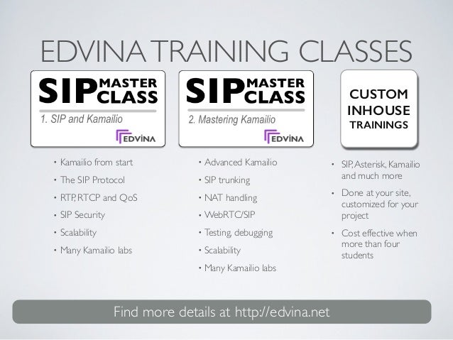 EDVINATRAINING CLASSES • Kamailio from start  • The SIP Protocol  • RTP, RTCP and QoS  • SIP Security  • Scalability ...