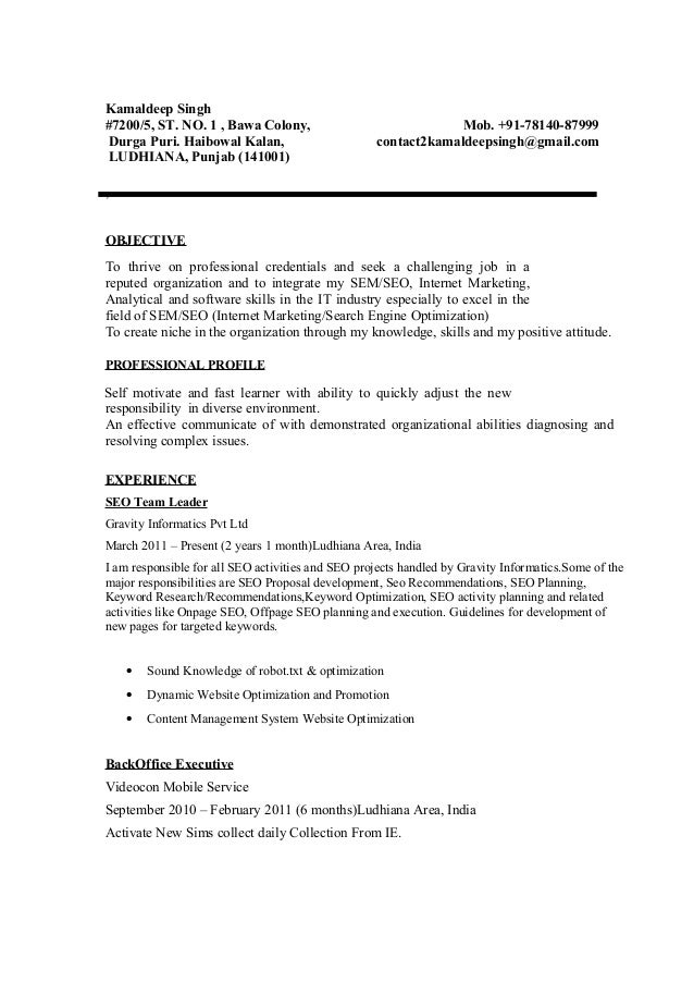 kamaldeep singh seo seo smo resume sample - Extra Curricular Activities In Resume Sample