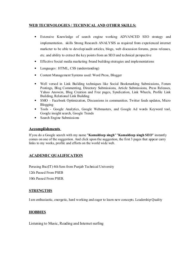Kamaldeep Singh Seo | Seo, Smo Resume Sample