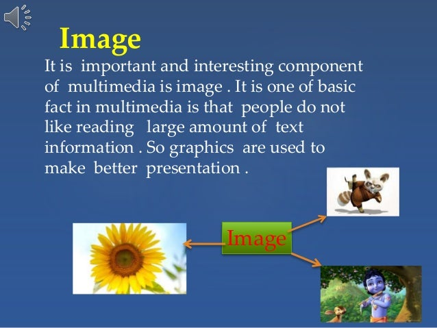 Image It is important and interesting component of multimedia is image . It is one of basic fact in multimedia is that peo...