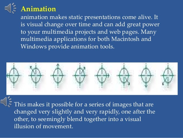 Animation animation makes static presentations come alive. It is visual change over time and can add great power to your m...