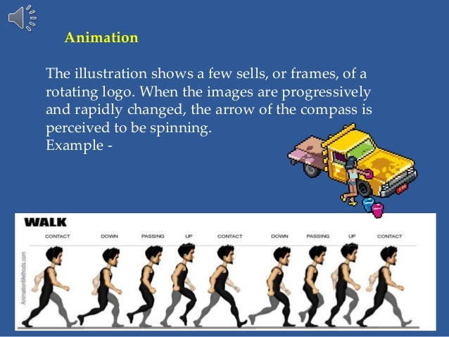 Animation The illustration shows a few sells, or frames, of a rotating logo. When the images are progressively and rapidly...