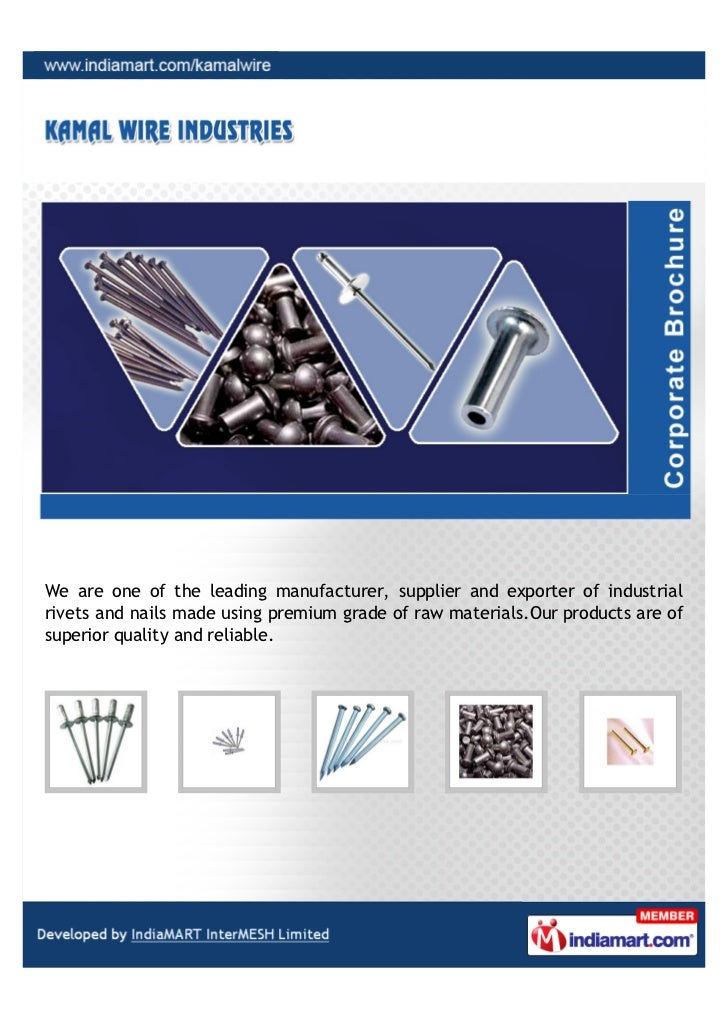 We are one of the leading manufacturer, supplier and exporter of industrialrivets and nails made using premium grade of ra...