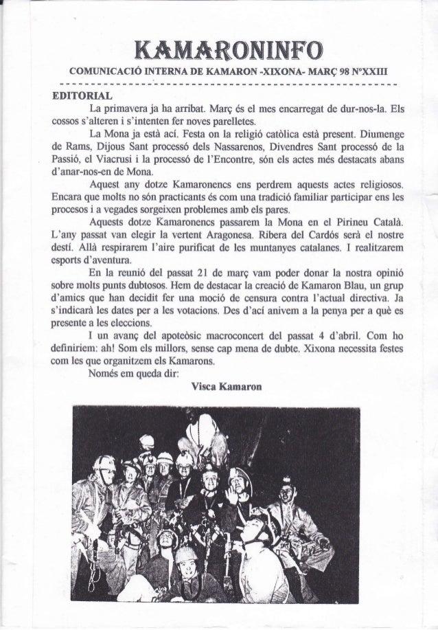 "KAMA&CIIÜTNFO    coMumcAcró ü{TERNA DE KAMARoN -xD(oNA- MARq                    98   N""xxmEDITORIAL         La primavera j..."