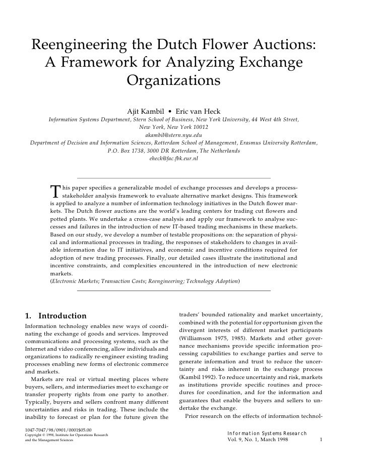 Reengineering the Dutch Flower Auctions:     A Framework for Analyzing Exchange                 Organizations             ...