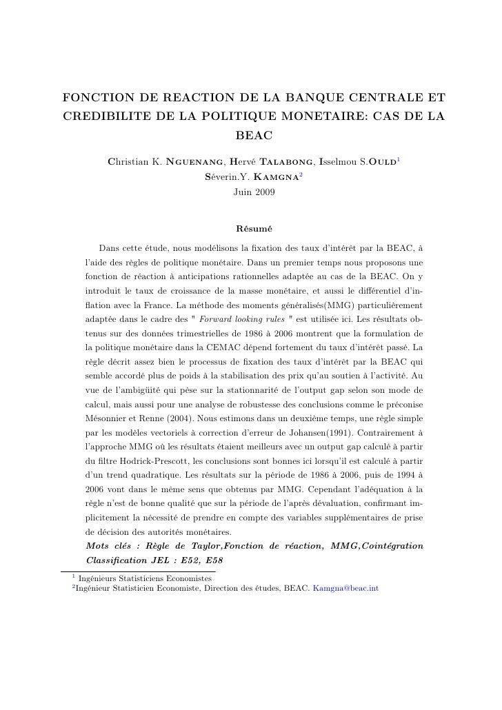 FONCTION DE REACTION DE LA BANQUE CENTRALE ET CREDIBILITE DE LA POLITIQUE MONETAIRE: CAS DE LA                            ...