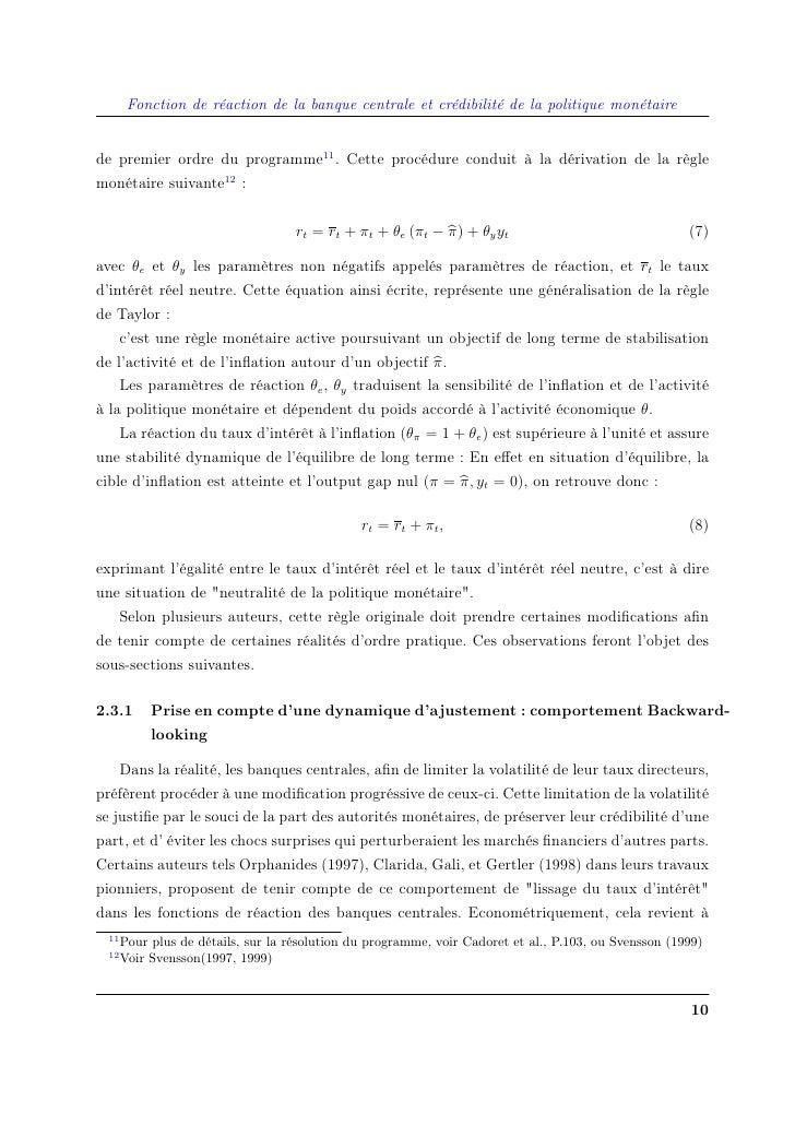 Fonction de réaction de la banque centrale et crédibilité de la politique monétaire   de premier ordre du programme11 . Ce...