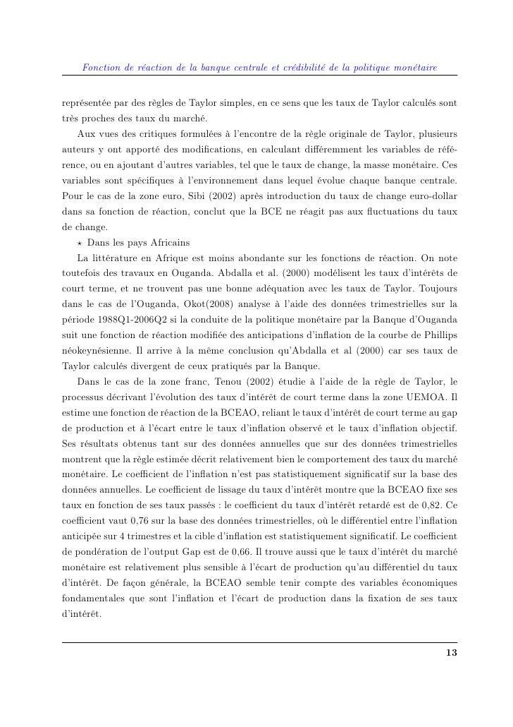 Fonction de réaction de la banque centrale et crédibilité de la politique monétaire   représentée par des règles de Taylor...