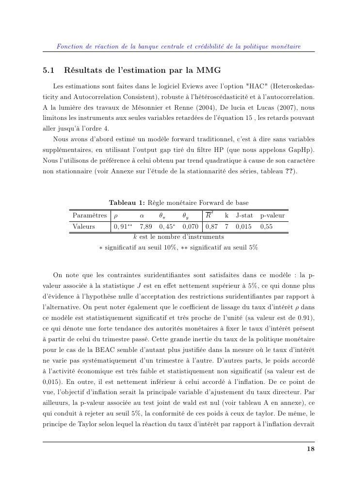 Fonction de réaction de la banque centrale et crédibilité de la politique monétaire   5.1     Résultats de l'estimation pa...
