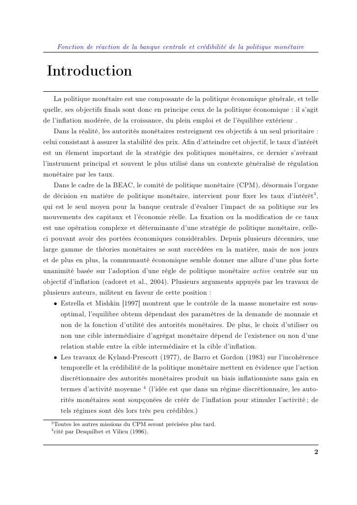 Fonction de réaction de la banque centrale et crédibilité de la politique monétaire    Introduction     La politique monét...