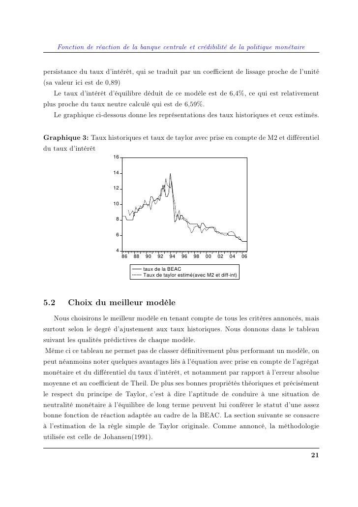 Fonction de réaction de la banque centrale et crédibilité de la politique monétaire   persistance du taux d'intérêt, qui s...