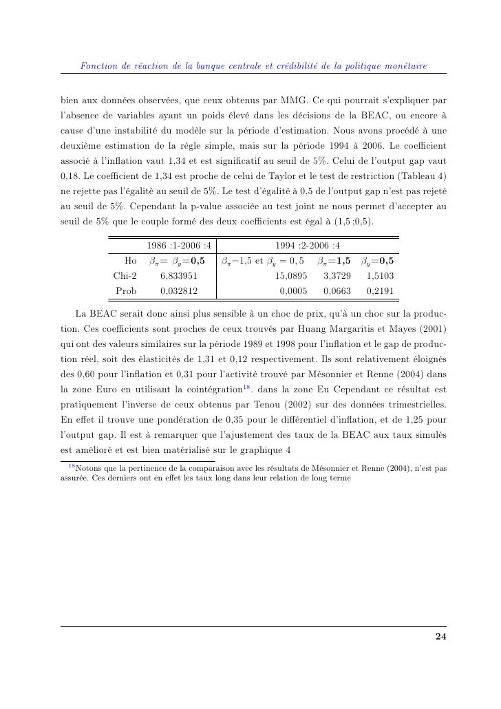 Fonction de réaction de la banque centrale et crédibilité de la politique monétaire   bien aux données observées, que ceux...