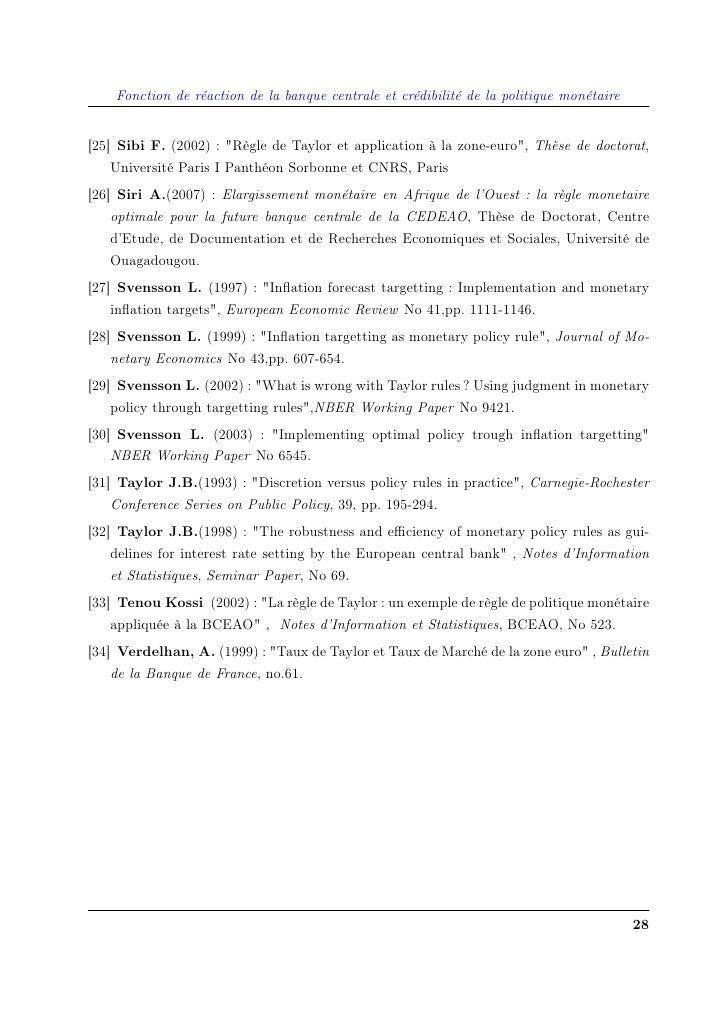 """Fonction de réaction de la banque centrale et crédibilité de la politique monétaire   [25] Sibi F. (2002) : """"Règle de Tayl..."""